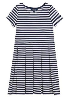 Ralph Lauren: Polo Striped cotton-blend knit dress