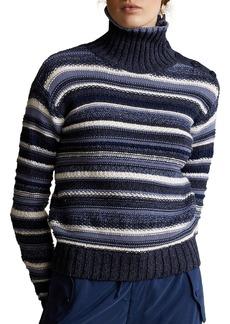 Ralph Lauren: Polo Striped Cotton Turtleneck Sweater