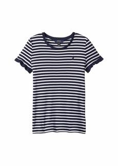Ralph Lauren: Polo Striped Ruffled Jersey Top (Little Kids/Big Kids)