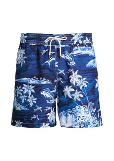 Ralph Lauren Polo Tropical-Print Traveler Swim Trunks
