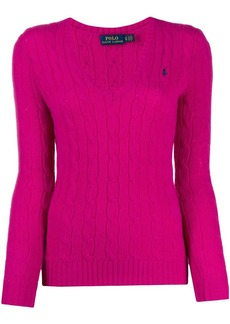 Ralph Lauren: Polo v-neck cable knit sweater