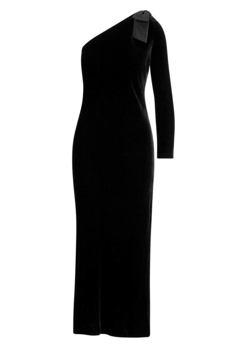 Ralph Lauren: Polo Velvet One Shoulder Midi Dress
