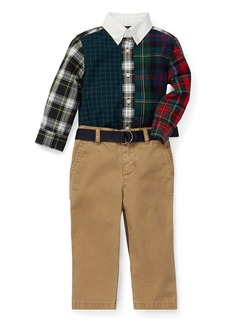 Ralph Lauren Poplin Plaid Patchwork Shirt w/ Pants & Belt  Size 6-24 Months
