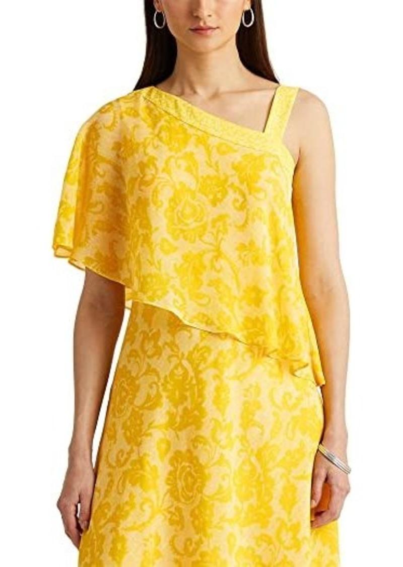 Ralph Lauren Print Georgette One-Shoulder Dress