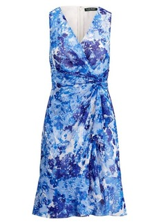 Ralph Lauren Printed Georgette V-Neck Dress