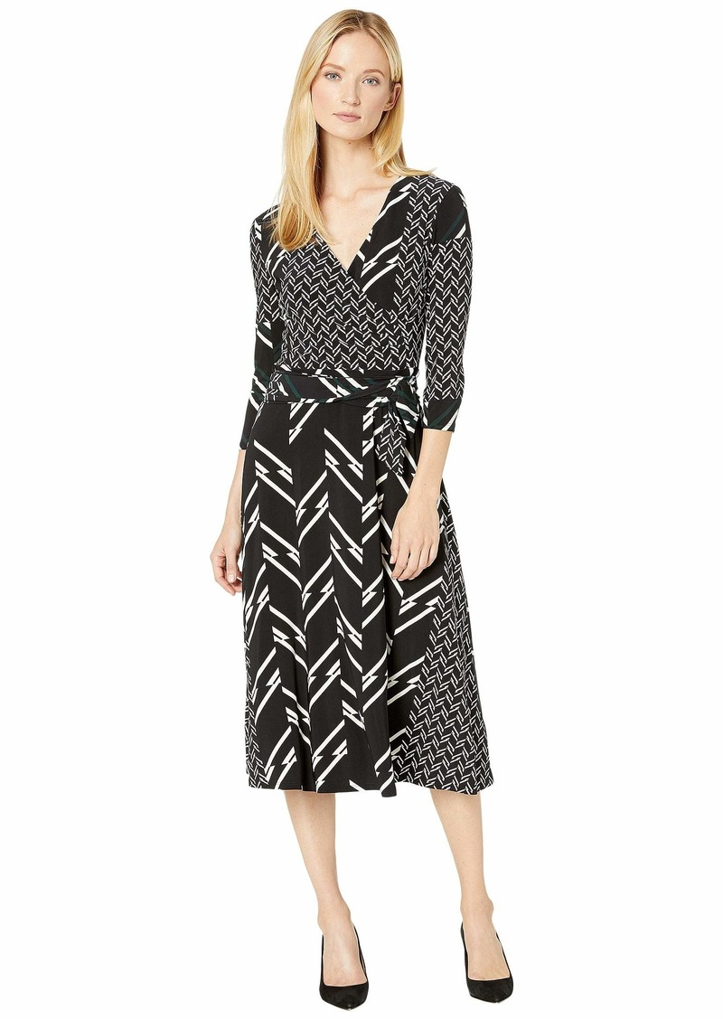 Ralph Lauren Printed Matte Jersey Carlyna 3/4 Sleeve Day Dress