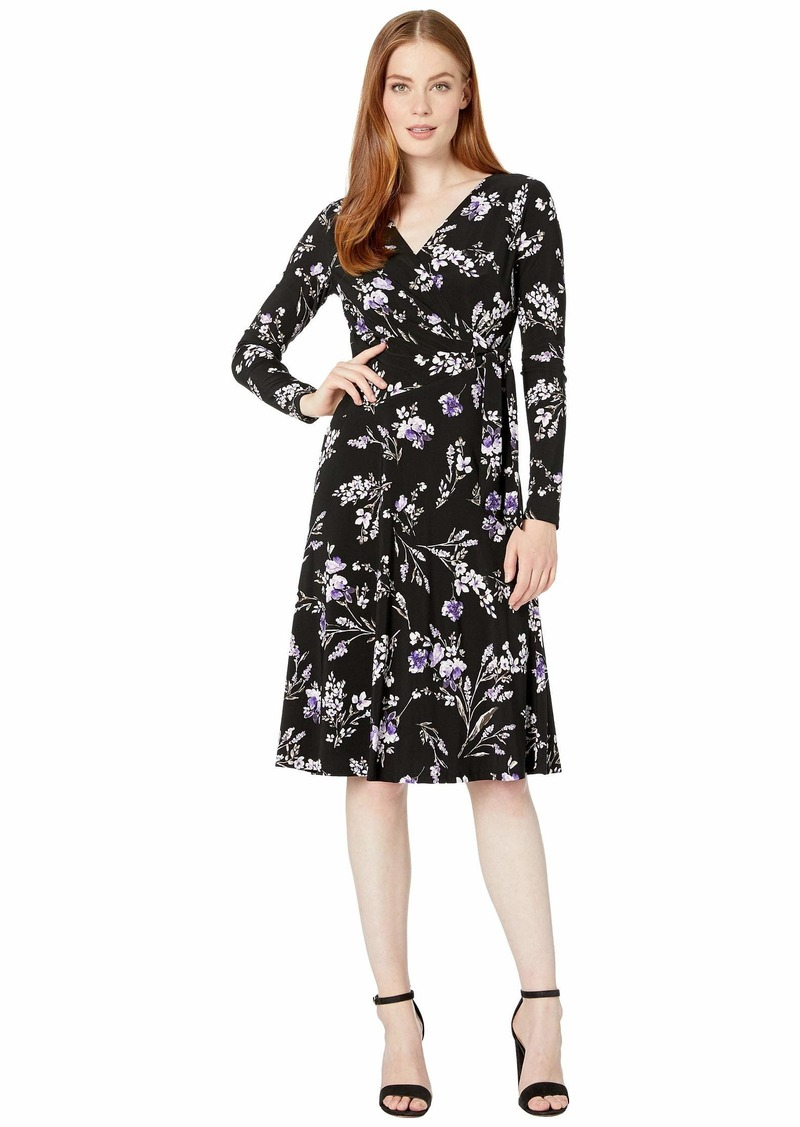 Ralph Lauren Printed Matte Jersey Coreen Long Sleeve Day Dress