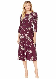 Ralph Lauren Printed Matte Jersey Felia with Sleeve 3/4 Sleeve Day Dress