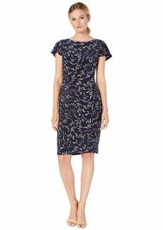 Ralph Lauren Printed Matte Jersey Rigley Cap Sleeve Day Dress