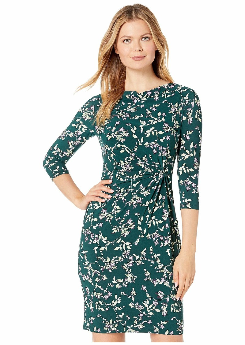 Ralph Lauren Printed Matte Jersey Trava 3/4 Sleeve Day Dress