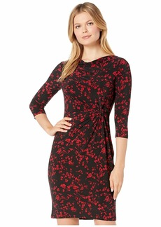 Ralph Lauren Printed Matte Jersey Trava 3/4 Sleeve Day Dress