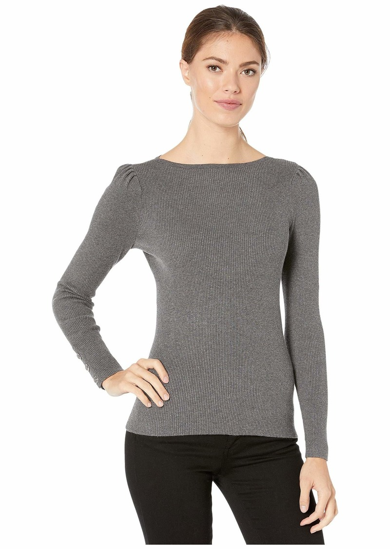 Ralph Lauren Puff-Sleeve Boat Neck Sweater