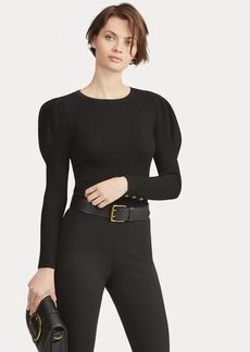 Ralph Lauren Puff-Sleeve Ribbed Sweater