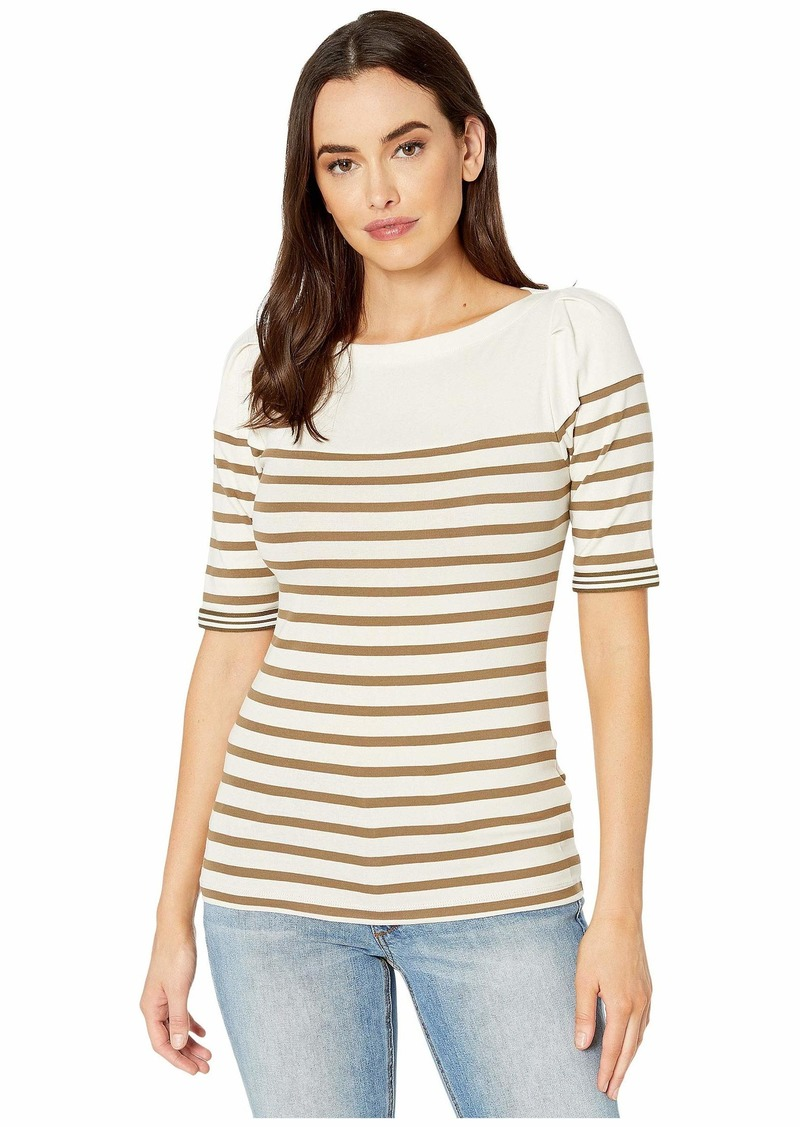 Ralph Lauren Puffed Elbow-Sleeve Stretch Cotton Top