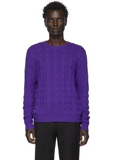 Ralph Lauren Purple Cashmere Cable-Knit Sweater