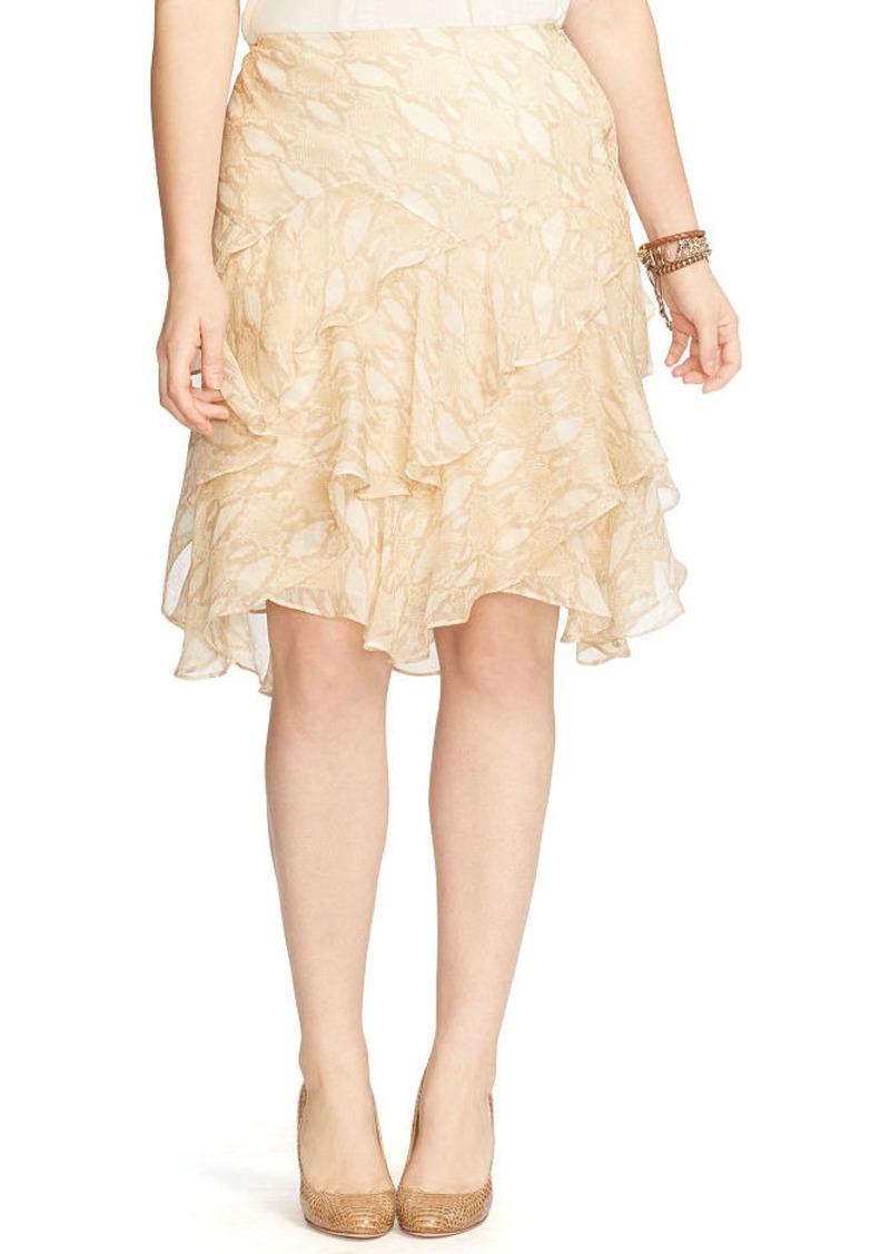 Ralph Lauren Python-Print Ruffled Skirt