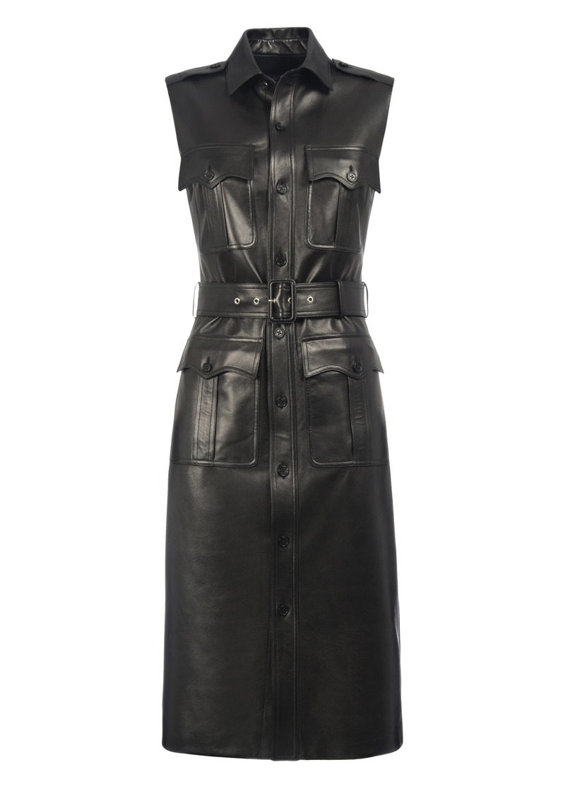 Ralph Lauren - Women's Tyson Leather Vest Dress - Black - Moda Operandi