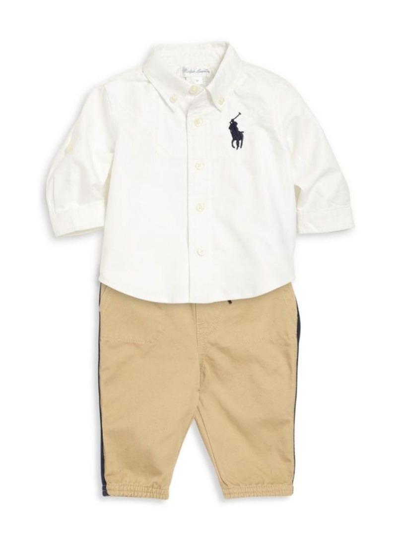 Ralph Lauren Baby's Two-Piece Button-Front Shirt & Jogger Pants Set