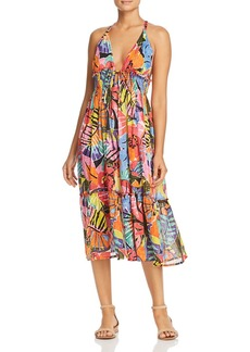 Ralph Lauren Batik Floral Print Midi Dress Swim Cover-Up