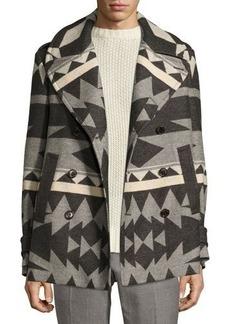 Ralph Lauren Beacon Patterned Wool Pea Coat