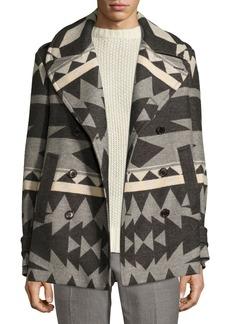 Ralph Lauren Beacon Patterned Wool Pea Coat  Gray