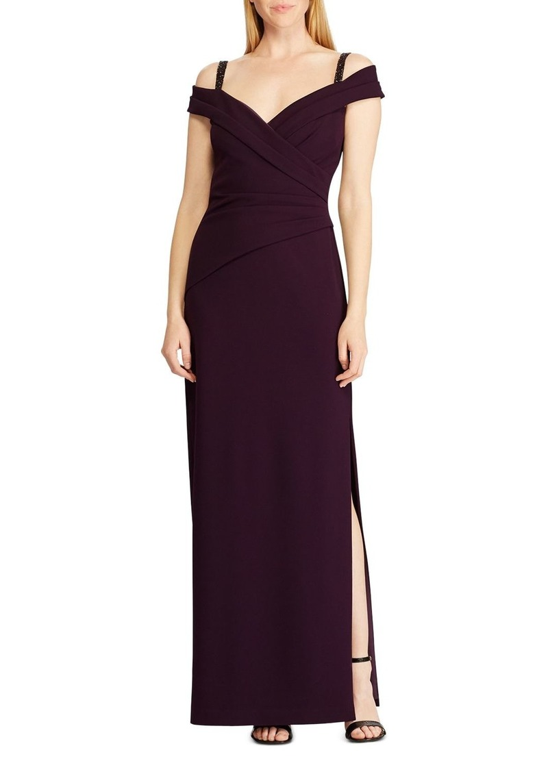Ralph Lauren Beaded Cold-Shoulder Gown