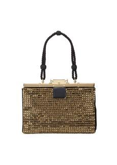 Ralph Lauren Beaded Satin Evening Frame Top Handle Bag