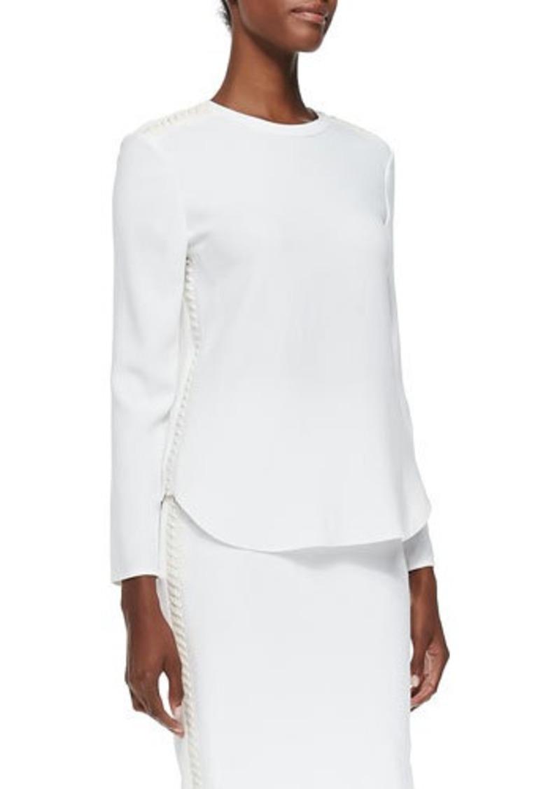 Ralph Lauren Black Label Marelle Leather-Lace Long-Sleeve Top