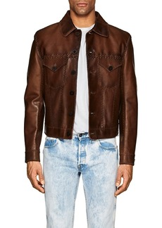 Ralph Lauren Black Label Men's Burnham Stitched Leather Western Jacket