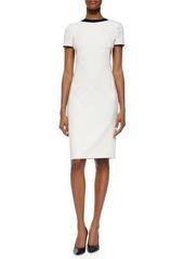Ralph Lauren Black Label Patent-Round-Collar Ponte Dress