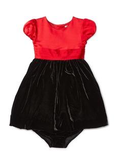 Ralph Lauren Cap-Sleeve Satin & Velour Party Dress w/ Bloomers