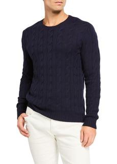 Ralph Lauren Purple Label Cashmere Cable-Knit Crewneck Sweater  Navy