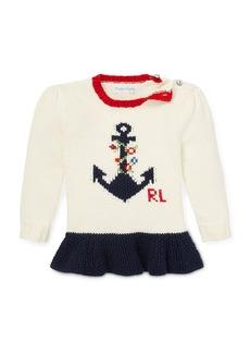Ralph Lauren Childrenswear Anchor Intarsia Peplum Sweater  Size 6-24 Months