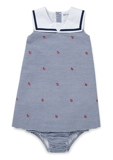 Ralph Lauren Childrenswear Anchor Schiffli Woven Dress  Size 6-24 Months
