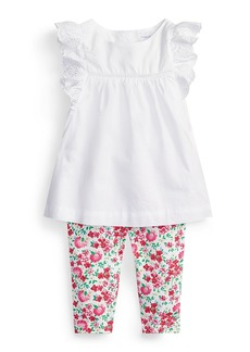 Ralph Lauren Childrenswear Batiste Eyelet Top w/ Floral Leggings  Size 6-24 Months