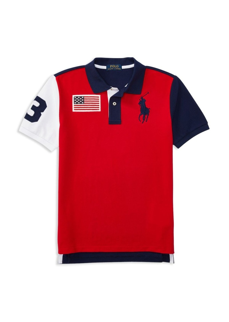 5e7dbf4ade2d Childrenswear Boys  Big Pony American Flag Patch Polo - Big Kid. Ralph  Lauren
