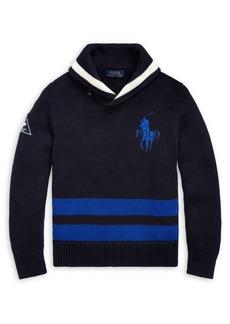 Ralph Lauren Childrenswear Boy's Big Pony Shawl Cotton Sweater