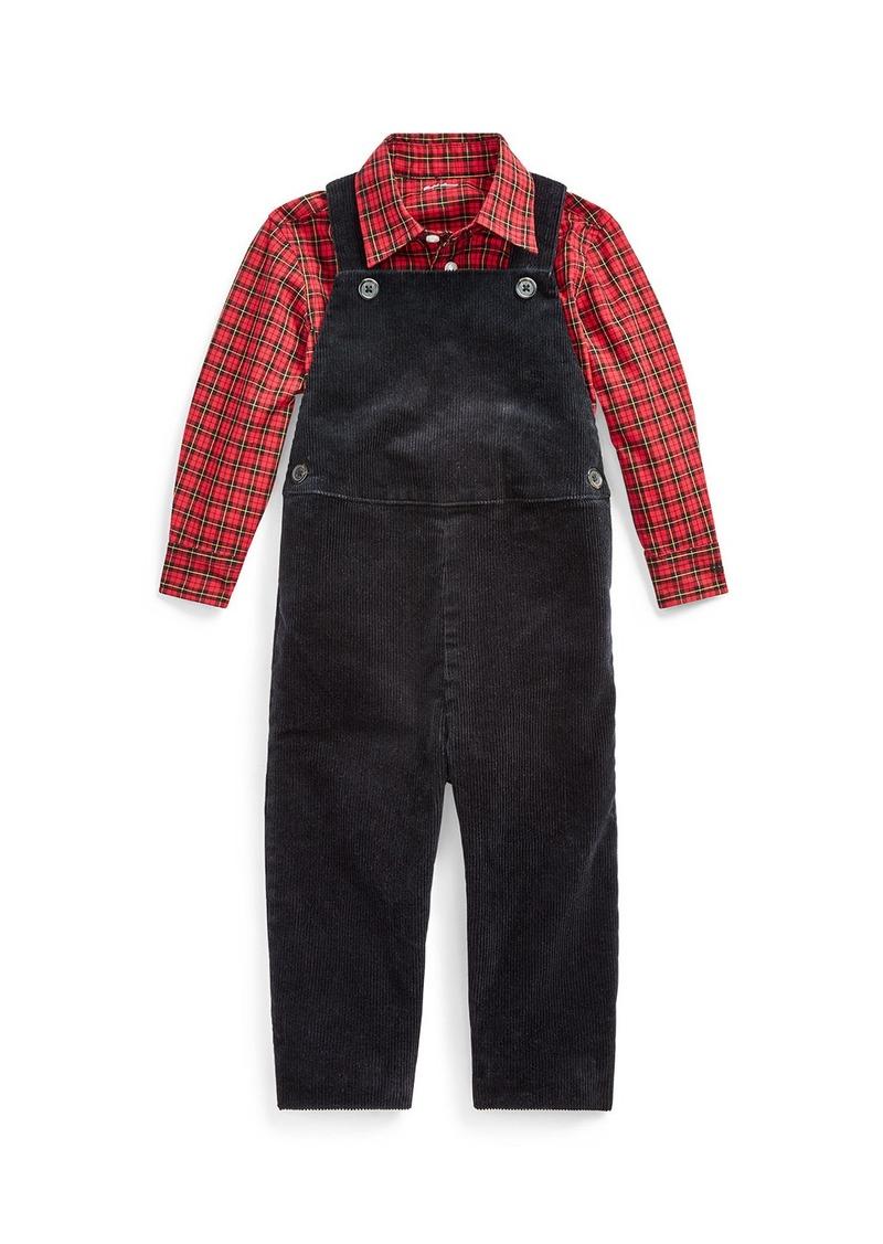 Ralph Lauren Childrenswear Boy's Corduroy Overalls w/ Plaid Shirt  Size 6-24 Months