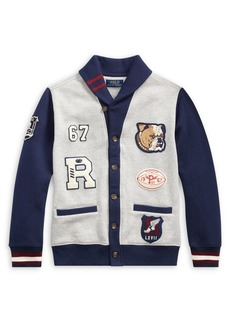 Ralph Lauren Childrenswear Little Boy's & Boy's Cotton-Blend Fleece Letterman Cardigan