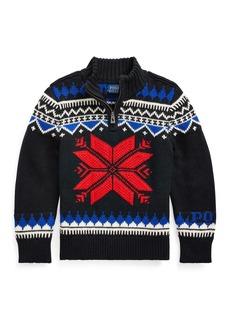 Ralph Lauren Childrenswear Boy's Fair Isle Knit Quarter-Zip Sweater  Size 5-7