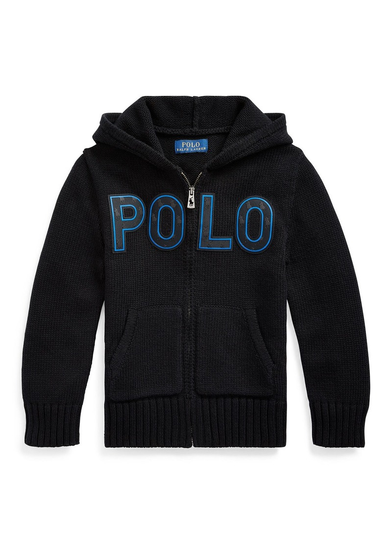 Ralph Lauren Childrenswear Boy's Knit Hooded Sweater Jacket w/ Silicone Patches  Size 5-7