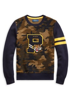 Ralph Lauren Childrenswear Little Boy's & Boy's Letterman Camouflage Cotton Sweater