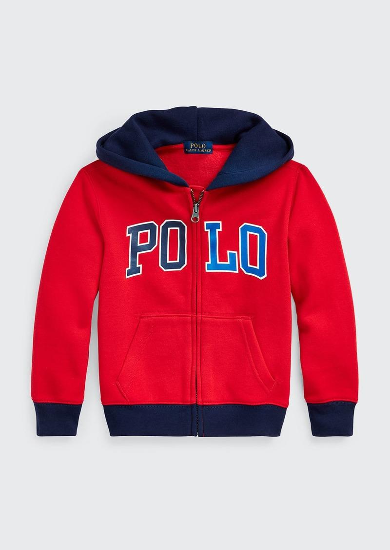 Ralph Lauren Childrenswear Boy's Logo Print Zip-Front Fleece Knit Hoodie  Size 5-7