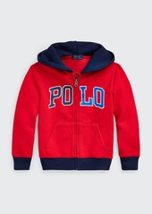 Ralph Lauren Childrenswear Boy's Logo Print Zip-Front Fleece Knit Hoodie  Size S-L