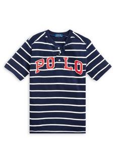 Ralph Lauren Childrenswear Boy's Logo Striped Cotton Mesh Henley