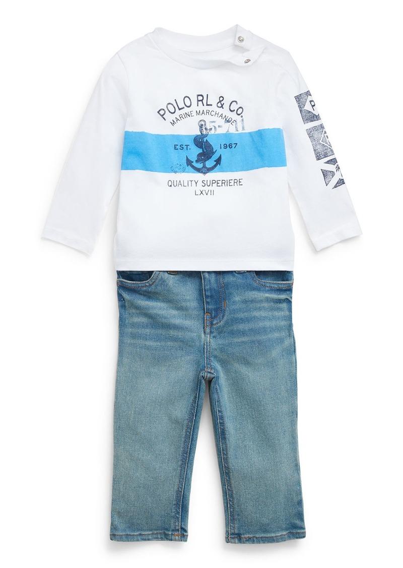 Ralph Lauren Childrenswear Boy's Long-Sleeve Logo Anchor Print Tee w/ Faded Denim Jeans  Size 6-24 Months