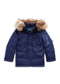 Ralph Lauren Childrenswear Boy's Military Parka Jacket w/ Faux Fur Trim  Size 5-7