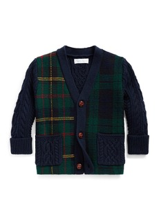 Ralph Lauren Childrenswear Boy's Mixed Plaid Knit Sweater Cardigan  Size 6-24 Months