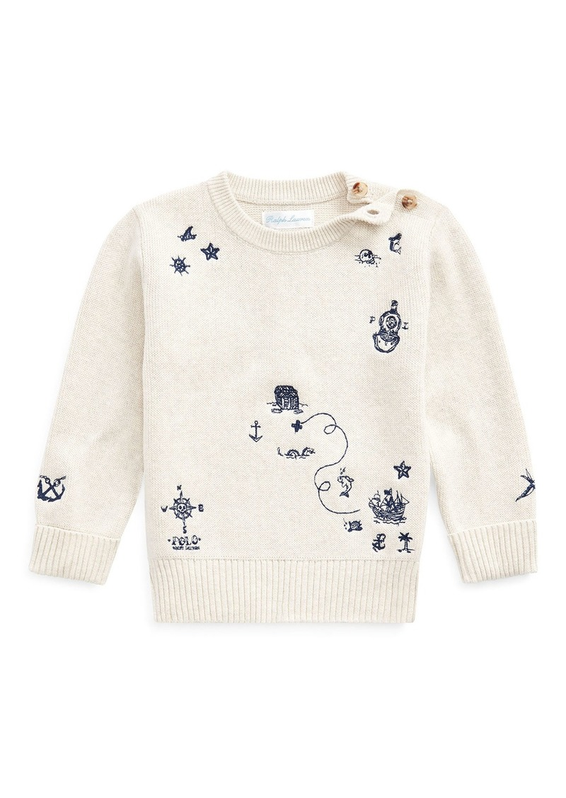 Ralph Lauren Childrenswear Boy's Nautical Embroidered Sweater  Size 6-24 Months