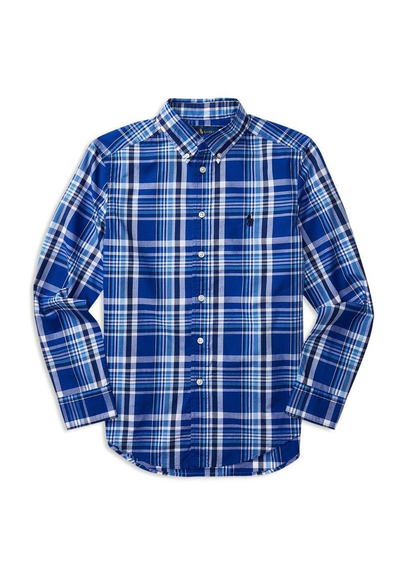 Ralph Lauren Childrenswear Boys' Plaid Poplin Shirt - Big Kid
